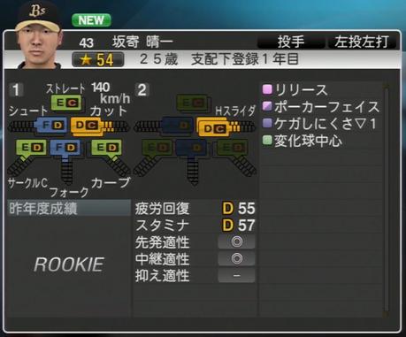坂寄 晴一 プロ野球スピリッツ2015 ver1.06
