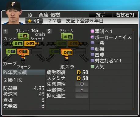 斎藤 佑樹 プロ野球ス  ピリッツ2015 ver1.06