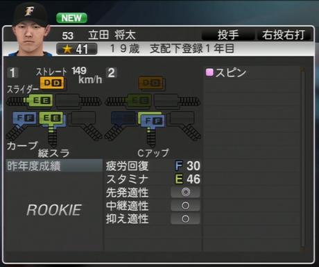立田 将太 プロ野球ス  ピリッツ2015 ver1.06