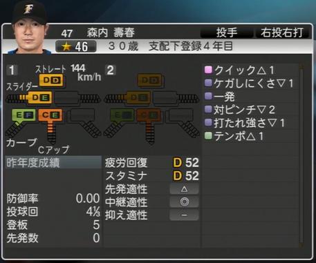 森内 壽春 プロ野球ス  ピリッツ2015 ver1.06