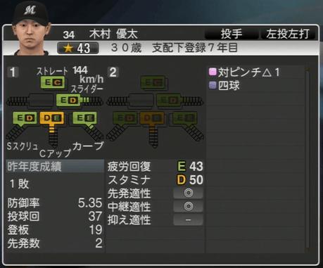 木村 優太 プロ野球スピリッツ2015