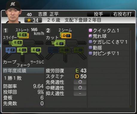 吉原 正平 プロ野球スピリッツ2015 ver1.06