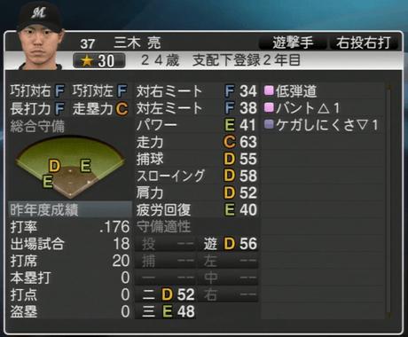 三木 亮 プロ野球スピリッツ2015
