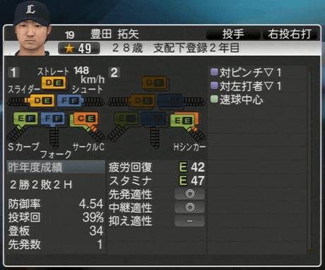 豊田 拓矢 プロ野球スピリッツ2015