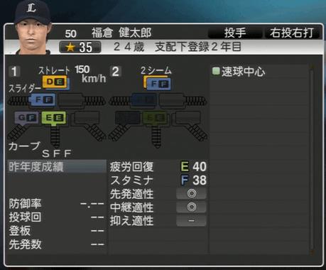 福倉 健太郎 プロ野球スピリッツ2015 ver1.06