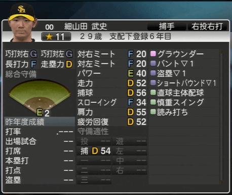 細山田武史 プロ野球スピリッツ2015