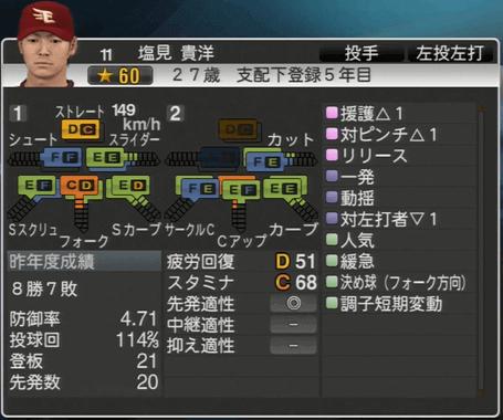塩見 貴洋 プロ野球スピリッツ2015