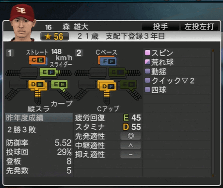 森 雄大 プロ野球スピリッツ2015ver1.06