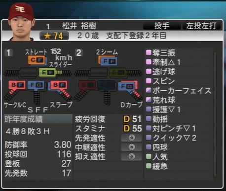 松井 裕樹 プロ野球スピリッツ2015