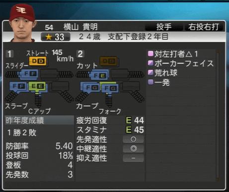 横山 貴明 プロ野球スピリッツ2015