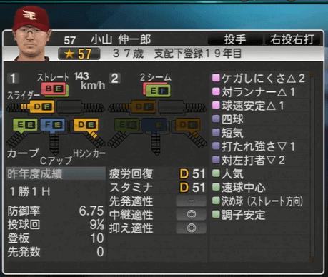 小山 伸一郎 プロ野球スピリッツ2015 ver1.06