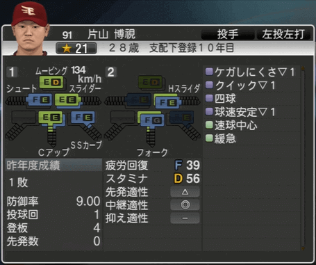 片山 博視 プロ野球スピリッツ2015 ver1.06