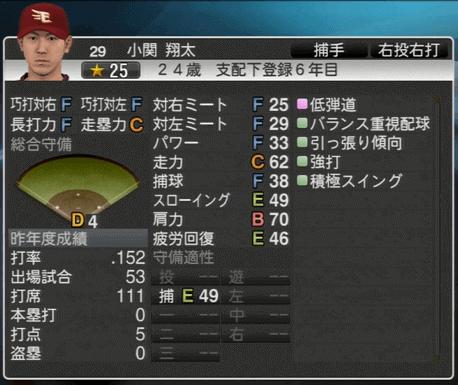 小関 翔太 プロ野球スピリッツ2015 ver1.06