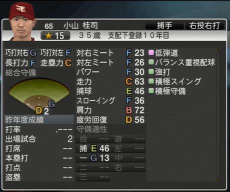 小山 桂司 プロ野球スピリッツ2015 ver1.06