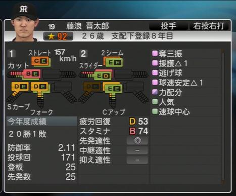 プロ野球スピリッツ2015 2020年藤浪晋太郎