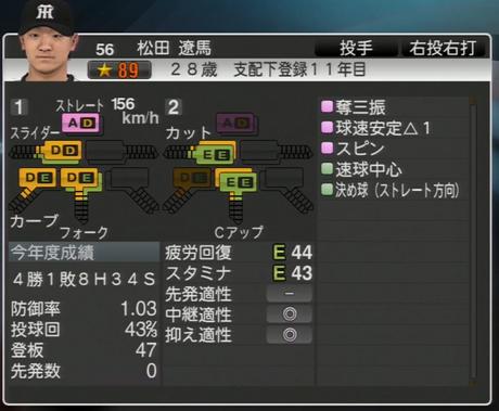 プロ野球スピリッツ2015 2022年松田遼馬