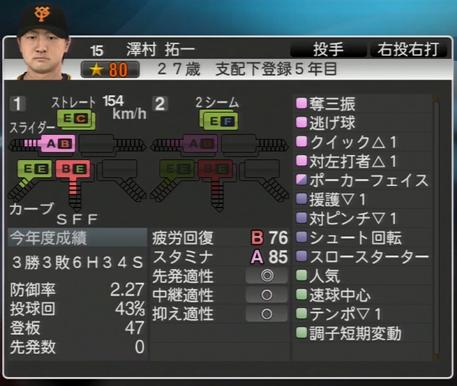 プロ野球スピリッツ2015 澤村拓一