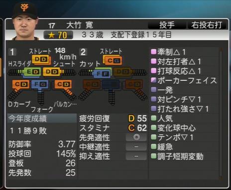 プロ野球スピリッツ2015 2016年 大竹寛