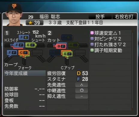 プロ野球スピリッツ2015 2016年 福田聡志