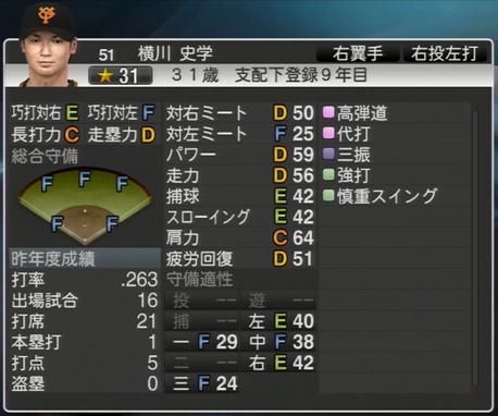 プロ野球スピリッツ2015 2015年 横川史学