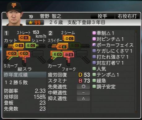 プロ野球スピリッツ2015 2015年 菅野智之
