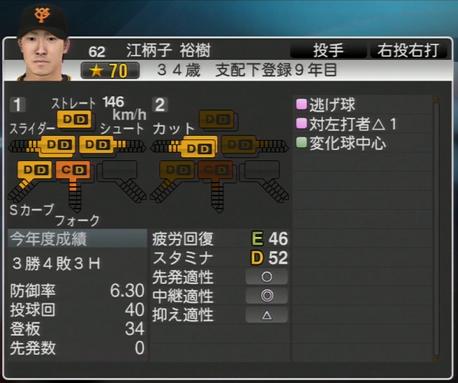 プロ野球スピリッツ2015 2020年 江柄子裕樹
