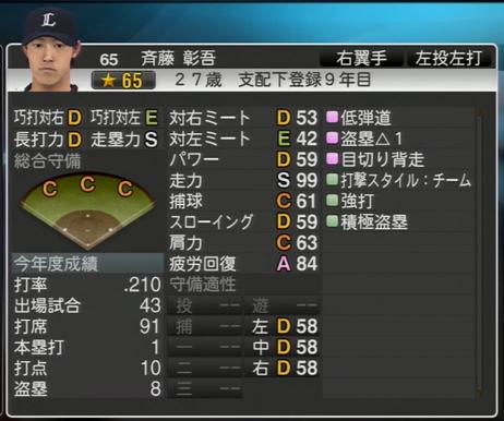 プロ野球スピリッツ2015 2016年 斎藤彰吾