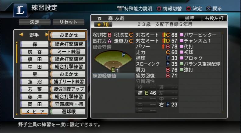 プロ野球スピリッツ2015 育成画面