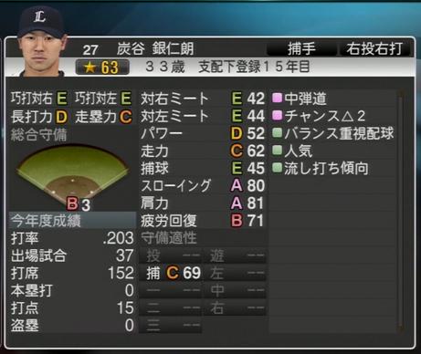 プロ野球スピリッツ2015 2020年 炭谷銀仁郎