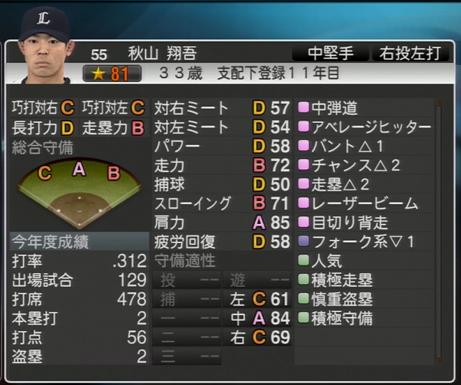プロ野球スピリッツ2015 2021年 秋山翔吾