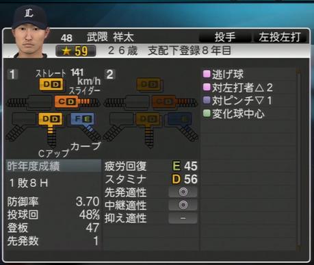 プロ野球スピリッツ2015 2015年 武隈祥太