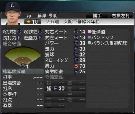 プロ野球スピリッツ2015 2015年 藤澤亨明