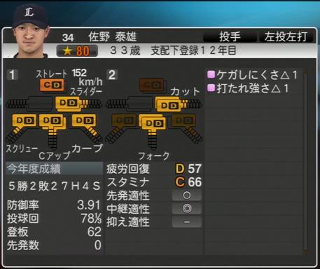プロ野球スピリッツ2015 2026年 佐野秦雄