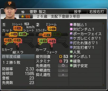 プロ野球スピリッツ2015 菅野智之