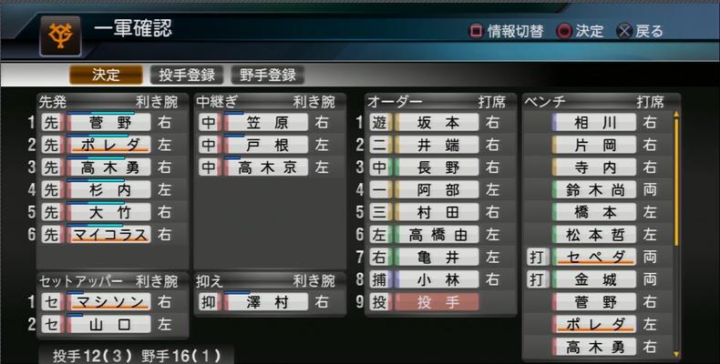 プロ野球スピリッツ2015 ジャイアンツ編成