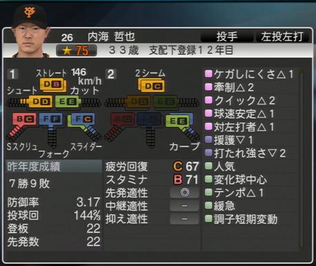 プロ野球スピリッツ2015 内海哲也 ver1.06