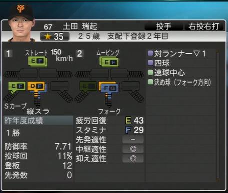 プロ野球スピリッツ2015 土田端起