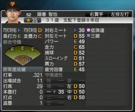 隠善智也 プロ野球スピリッツ2015 ver1.06