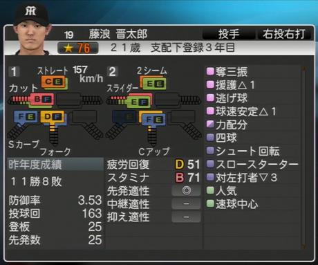 藤浪晋太郎 プロ野球スピリッツ2015