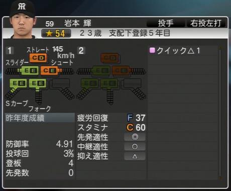 岩本輝 プロ野球スピリッツ2015