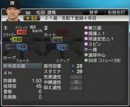 松田遼馬 プロ野球スピリッツ2015
