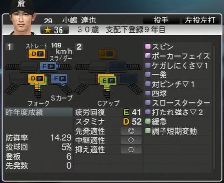 小嶋達也 プロ野球スピリッツ2015