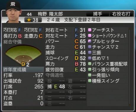 梅野隆太郎 プロ野球スピリッツ2015