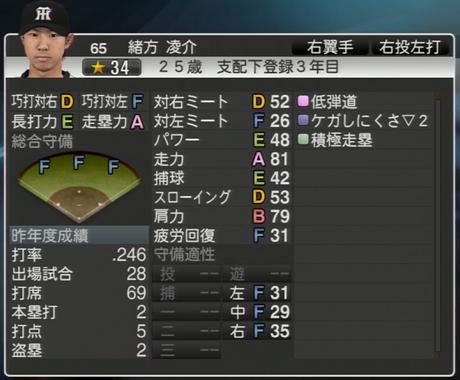緒方凌介 プロ野球スピリッツ2015 ver1.06