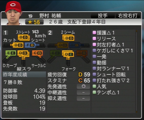 野村祐輔 プロ野球スピリッツ2015 ver1.06