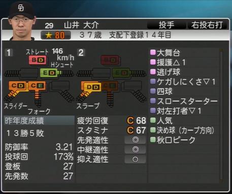山井大介 プロ野球スピリッツ2015
