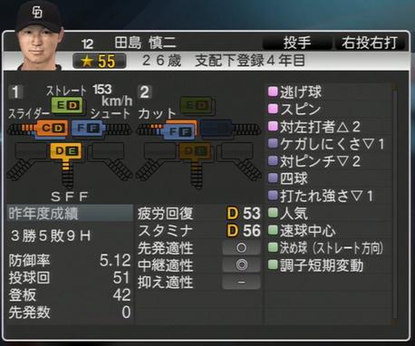 田島慎二 プロ野球スピリッツ2015
