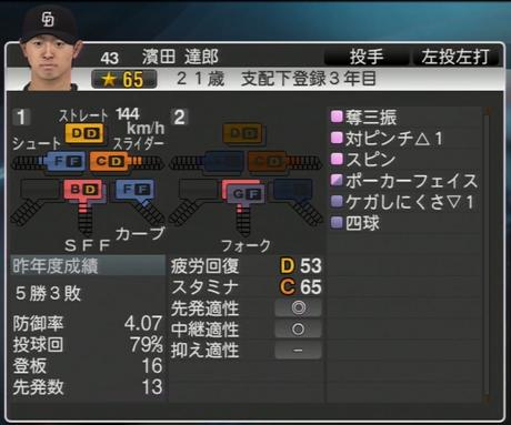 濱田達郎 プロ野球スピリッツ2015