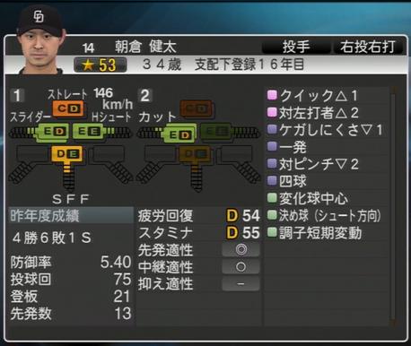 朝倉健太 プロ野球スピリッツ2015