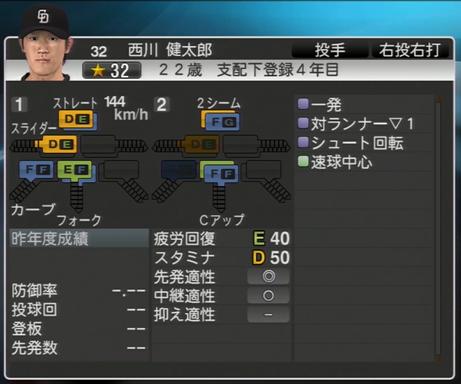 西川健太郎 プロ野球スピリッツ2015